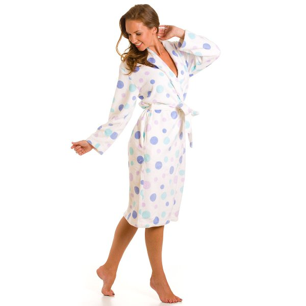 Ladies Camille Purple Spot Super Soft Fleece Dressing Gown Womens ...