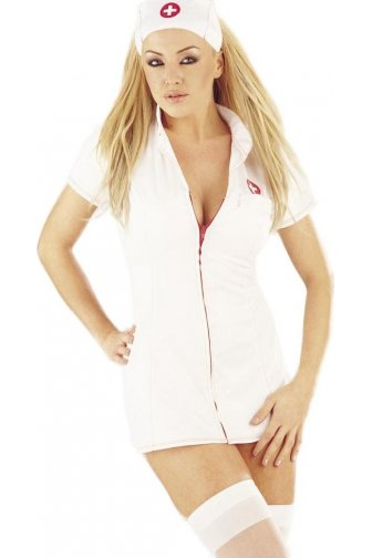 Womens Ladies Sexy Seductive White Zipped Front Nurse Fancy Dress Costume