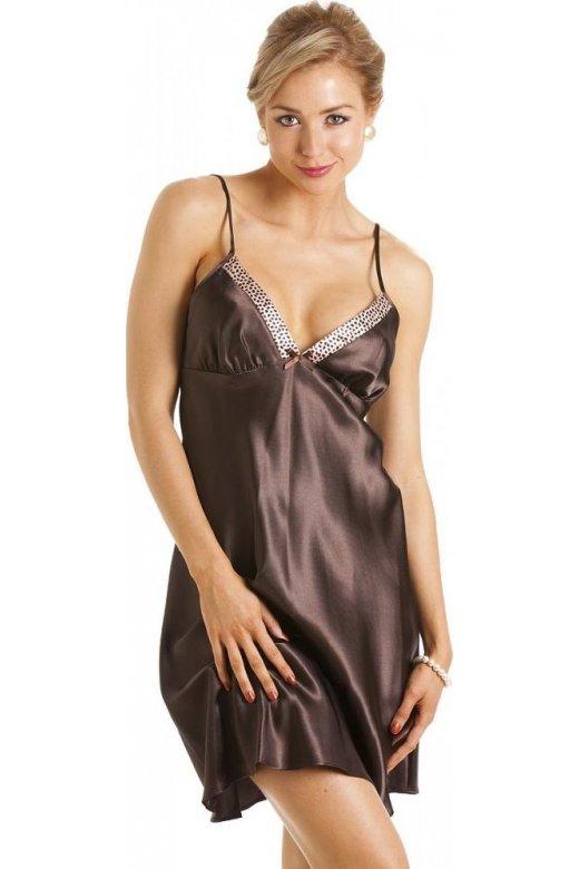 Womens Ladies Short Satin Chocolate Brown Nightdress Chemise 311bc5487