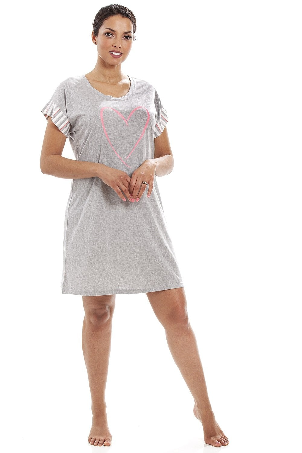Camille Womens Ladies Short Sleeve Plain Nightshirt With Fluorescent Heart  Motif 8-18 5fc1dc7c2