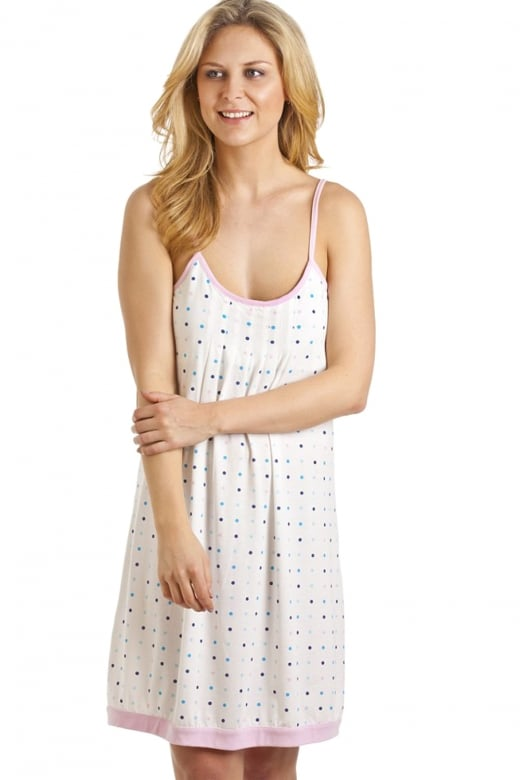 Camille Womens Ladies Spot Print Lightweight Nightdress Chemise