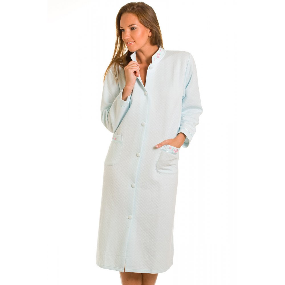House Coat: Ladies Turquoise Quilted Button Front House Coat Womens