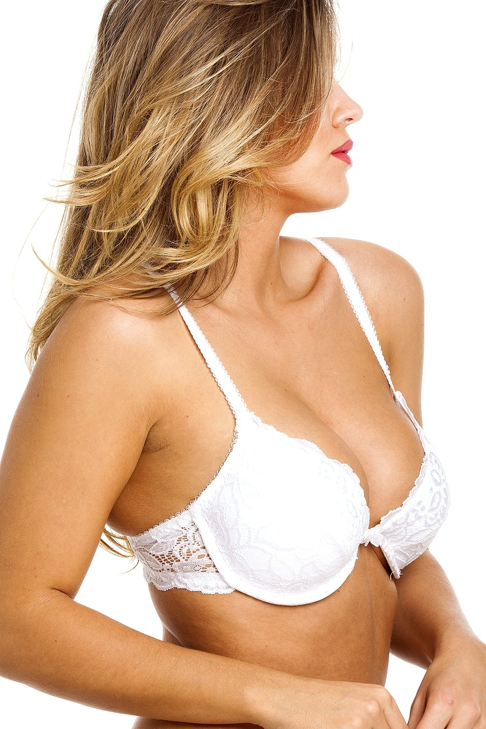 Camille Womens Ladies White Push Up Plunge Padded