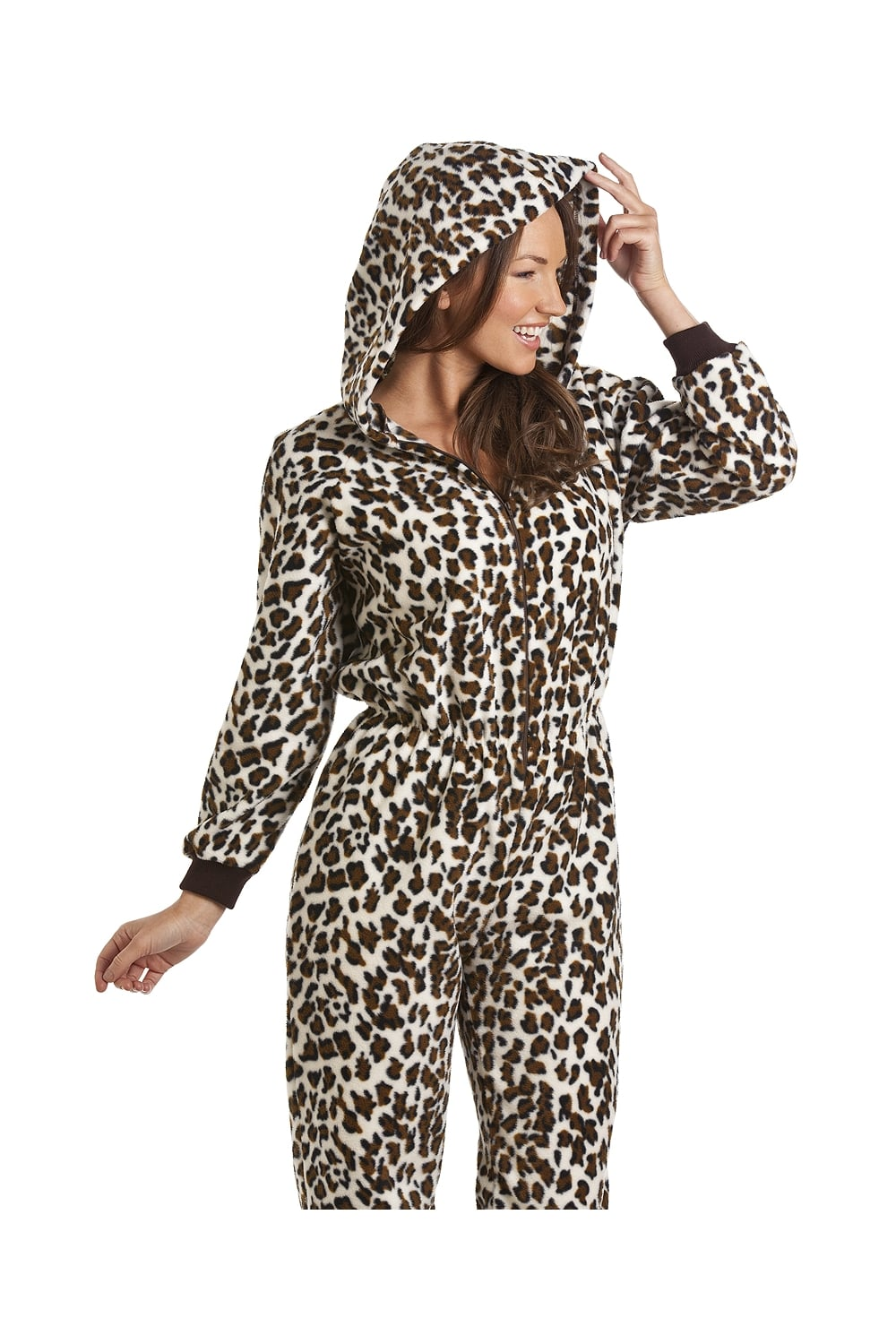 f6303f734d Camille Womens Luxury Brown Snow Leopard Print Hooded All In One Onesie  Pyjama
