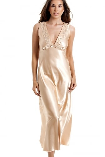 Womens Luxury Gold Satin Chemise