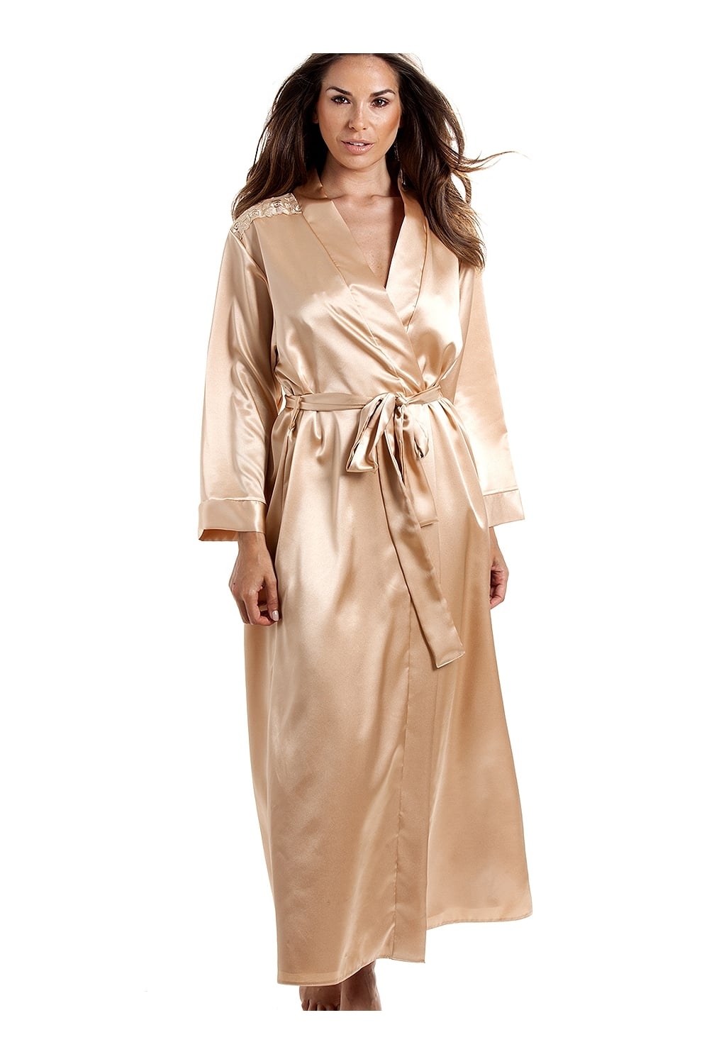 Womens Luxury Gold Satin Chemise And Wrap Set