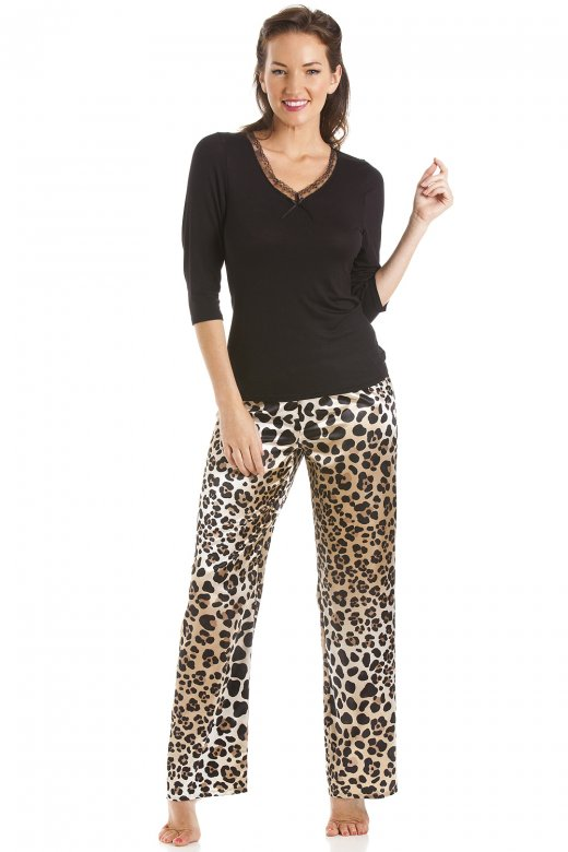 Camille Womens Luxury Satin And Viscose Leopard Print Pyjama Set