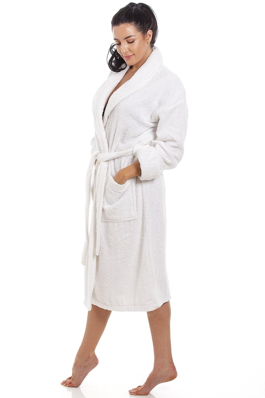 Womens White Towelling Bath Robe d15d66841