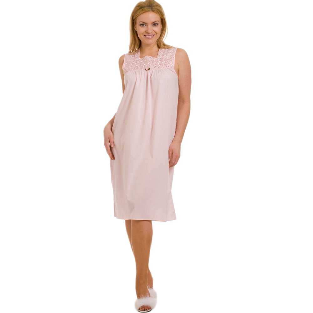 Ladies camille pink deluxe sleeveless womens embroidered