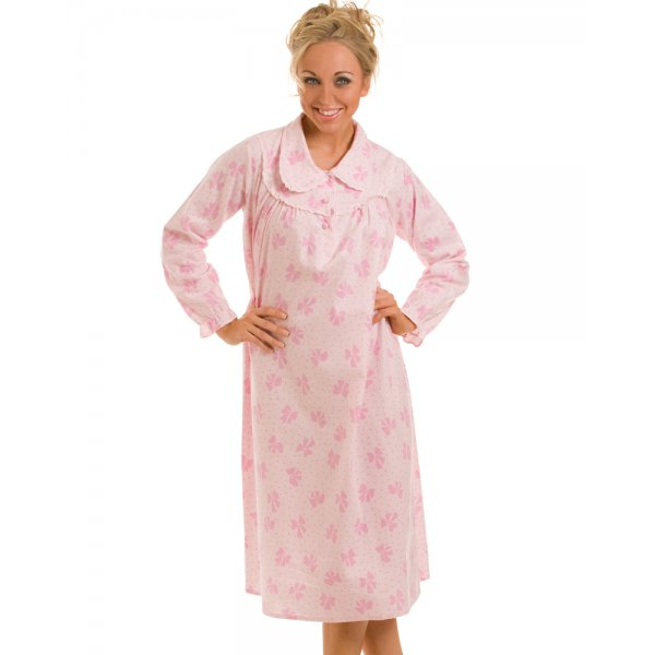 New Ladies Camille Pink Flannel Comfy Womens Long Sleeved Nightdress Size  8-24 0daa6c215f