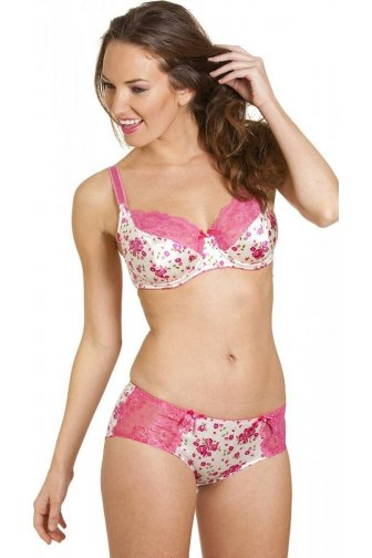 Womens Pink Floral Print White Satin Underwired Bra