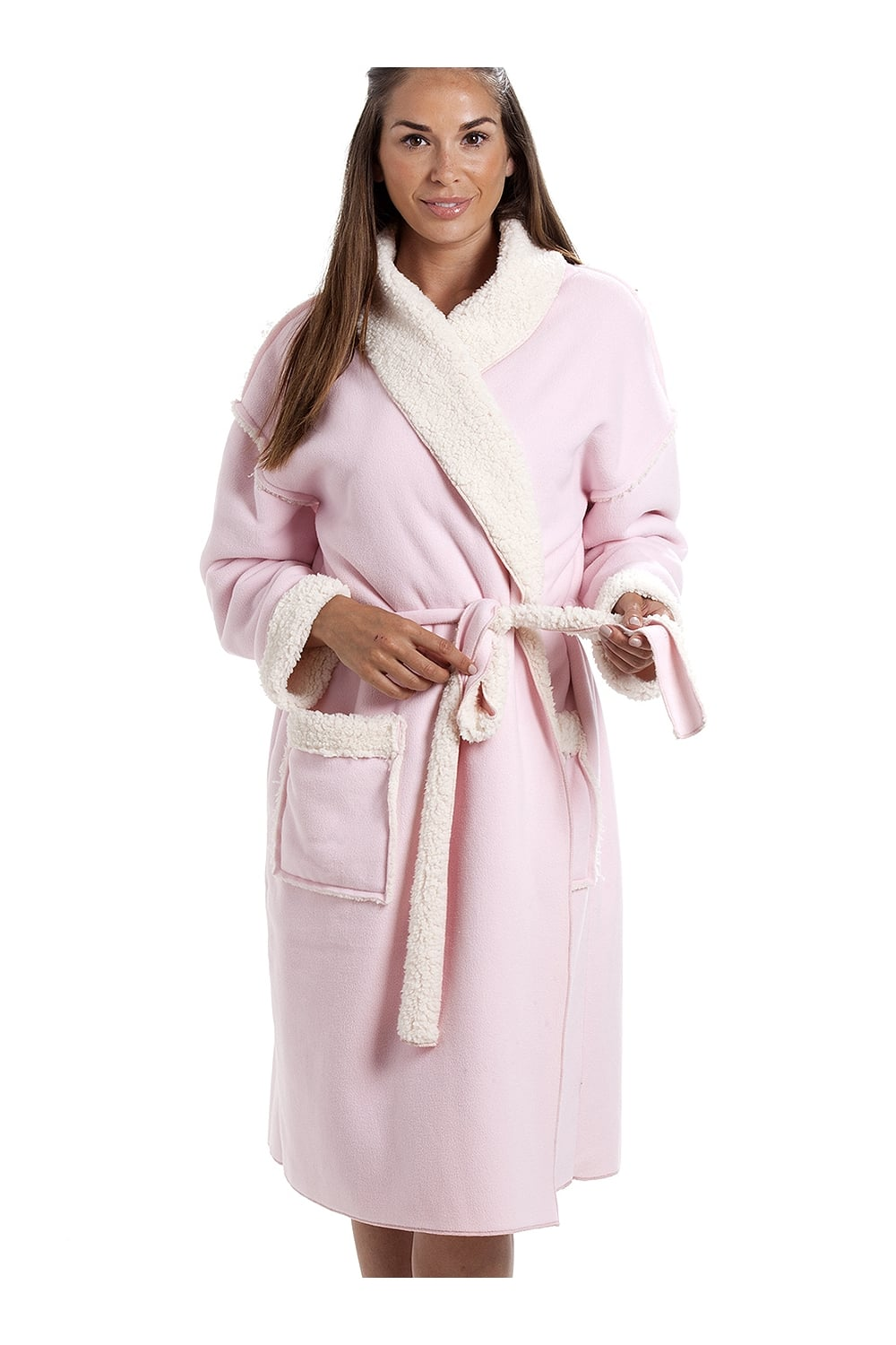 Womens Pink Stay Soft Bonded Fleece Dressing Gown