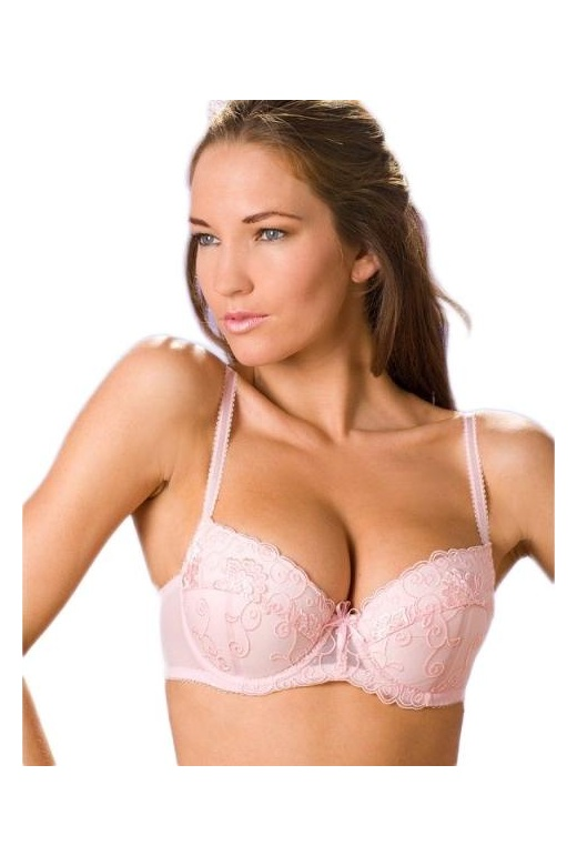 Camille Womens Pink Underwired Florence Embroidered Padded Bra