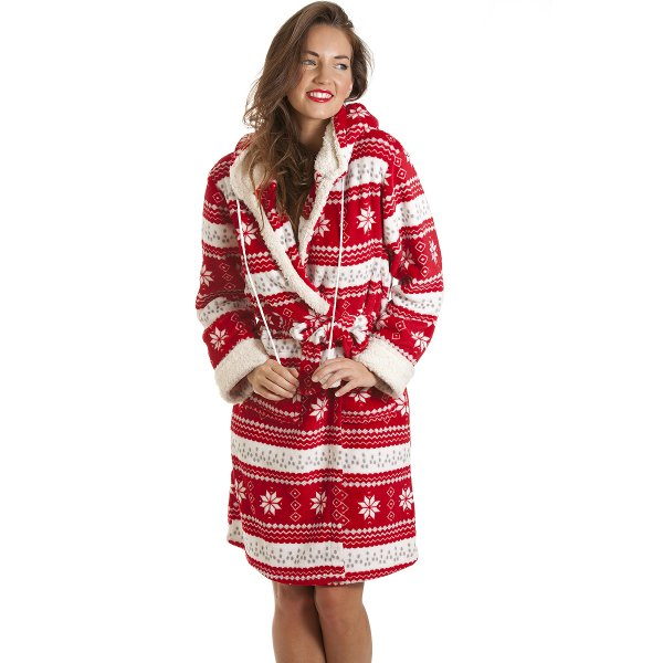 Womens Red Nordic Pattern Robe Dressing Gown 6dd9a51a8