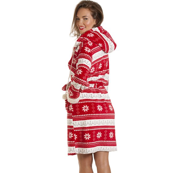 Womens Red Nordic Pattern Robe Dressing Gown