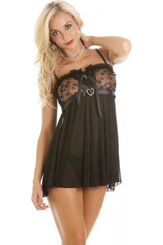 Camille Womens Sexy And Seductive Sheer Black Babydoll With Mesh Lace Trim Thong S-L
