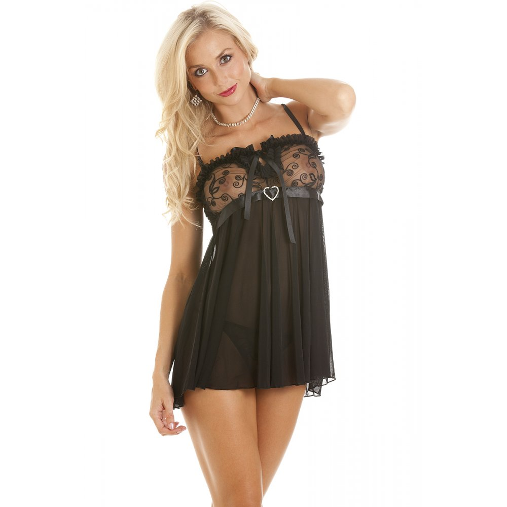 Camille Mesh Lace Trim Ribbon Babydoll With Thong