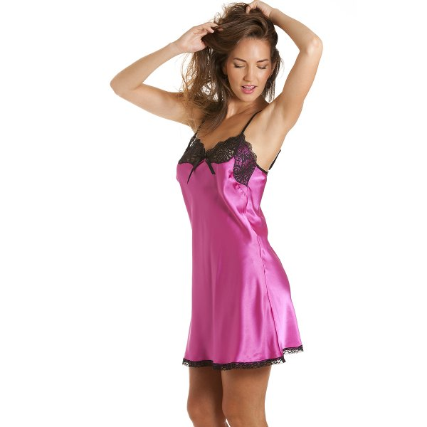 297404d3d3 Camille Womens Short Satin Chemise Fuchsia sizes 10-20