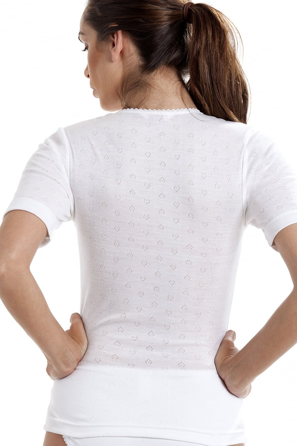 Camille Womens Short Sleeved Ladies Round Neck Thermal T-Shirt