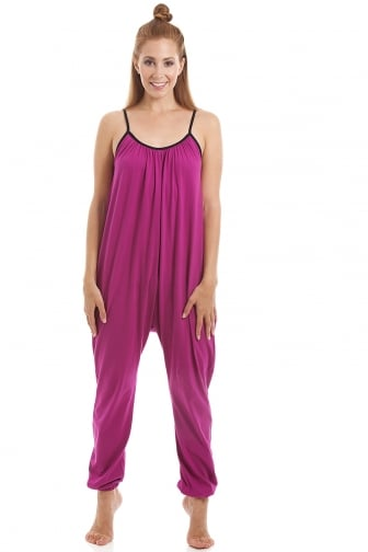 Womens Sleeveless Jersey Cotton Cerise Jumpsuit onesie