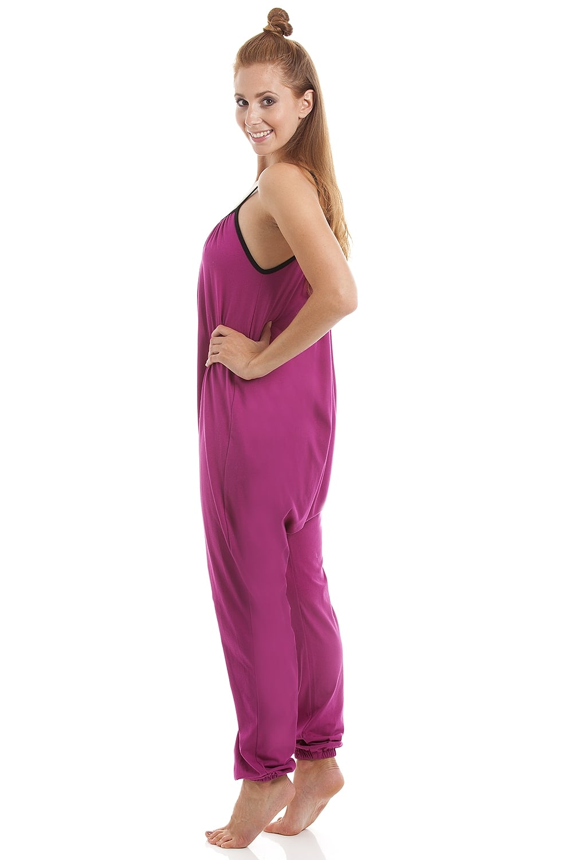 Camille Womens Sleeveless Jersey Cotton Cerise Jumpsuit onesie a786d8c8d