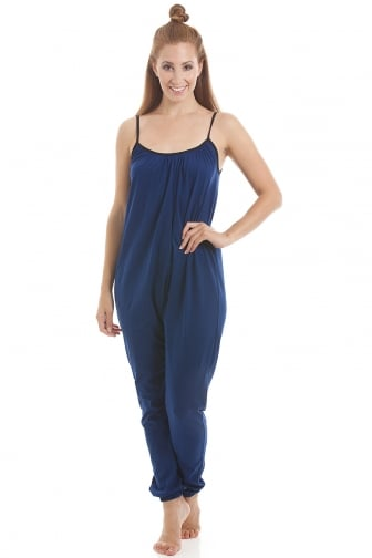Womens Sleeveless Jersey Cotton Navy Blue Jumpsuit onesie