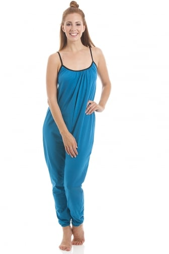 Womens Sleeveless Jersey Cotton Teal Jumpsuit onesie