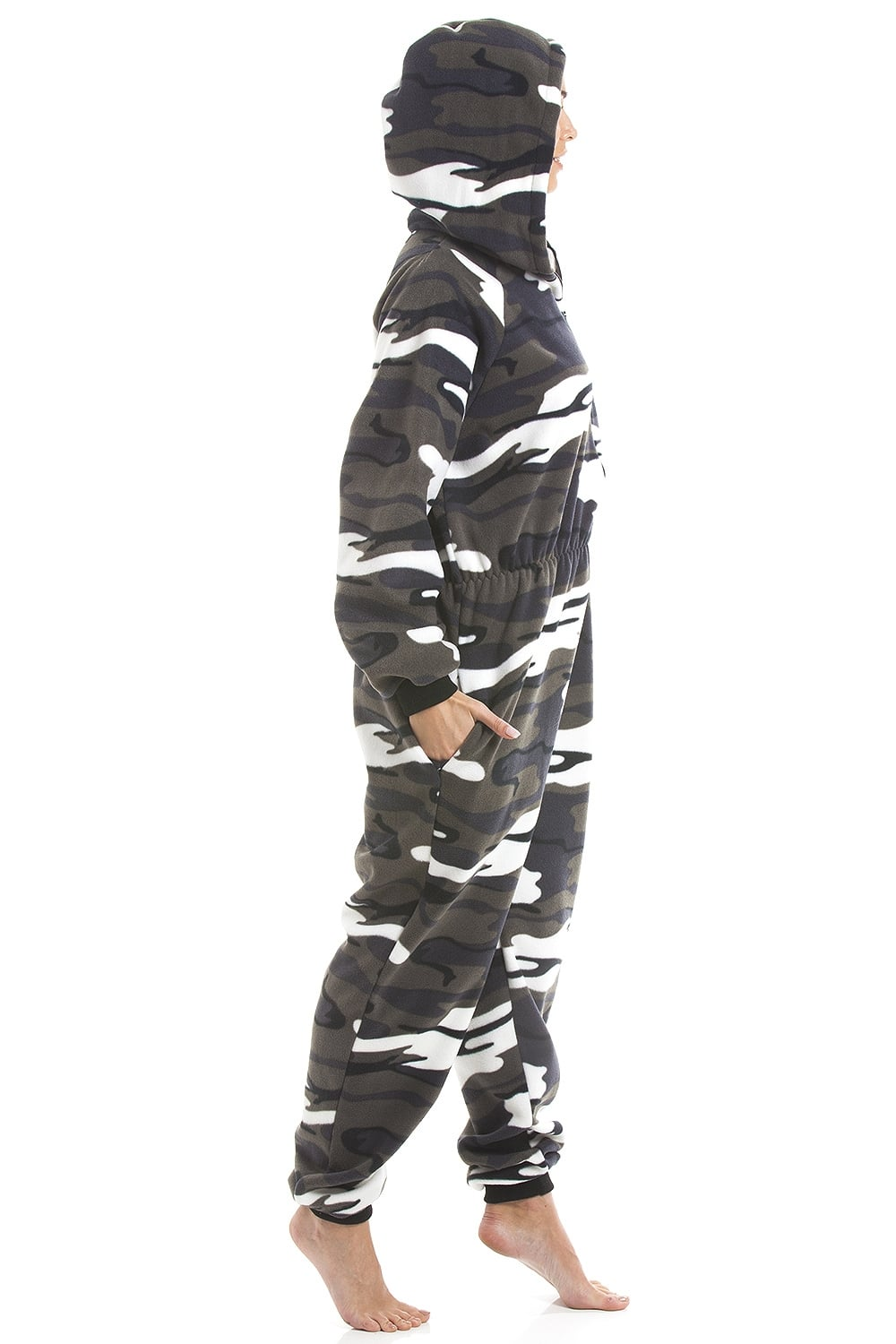 104bb717e4 Camille Mens Snow Camouflage Supersoft Fleece Zip Front Hooded Onesie