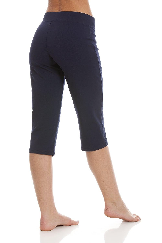 bbb88cd874 Womens Soft Cotton Blend Navy Yoga Pants