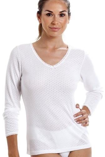 Womens Viloft Blend Lightweight Thermal Long Sleeved Top White