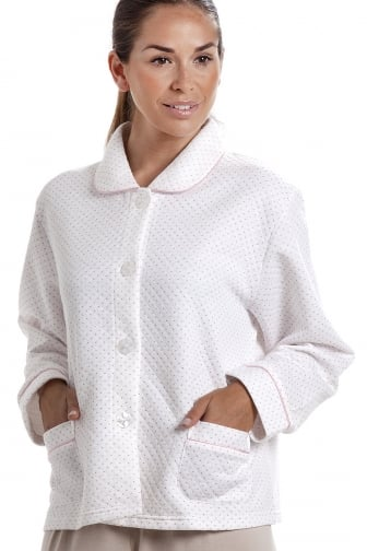Womens White Bed Jacket with a Pink Dot Print
