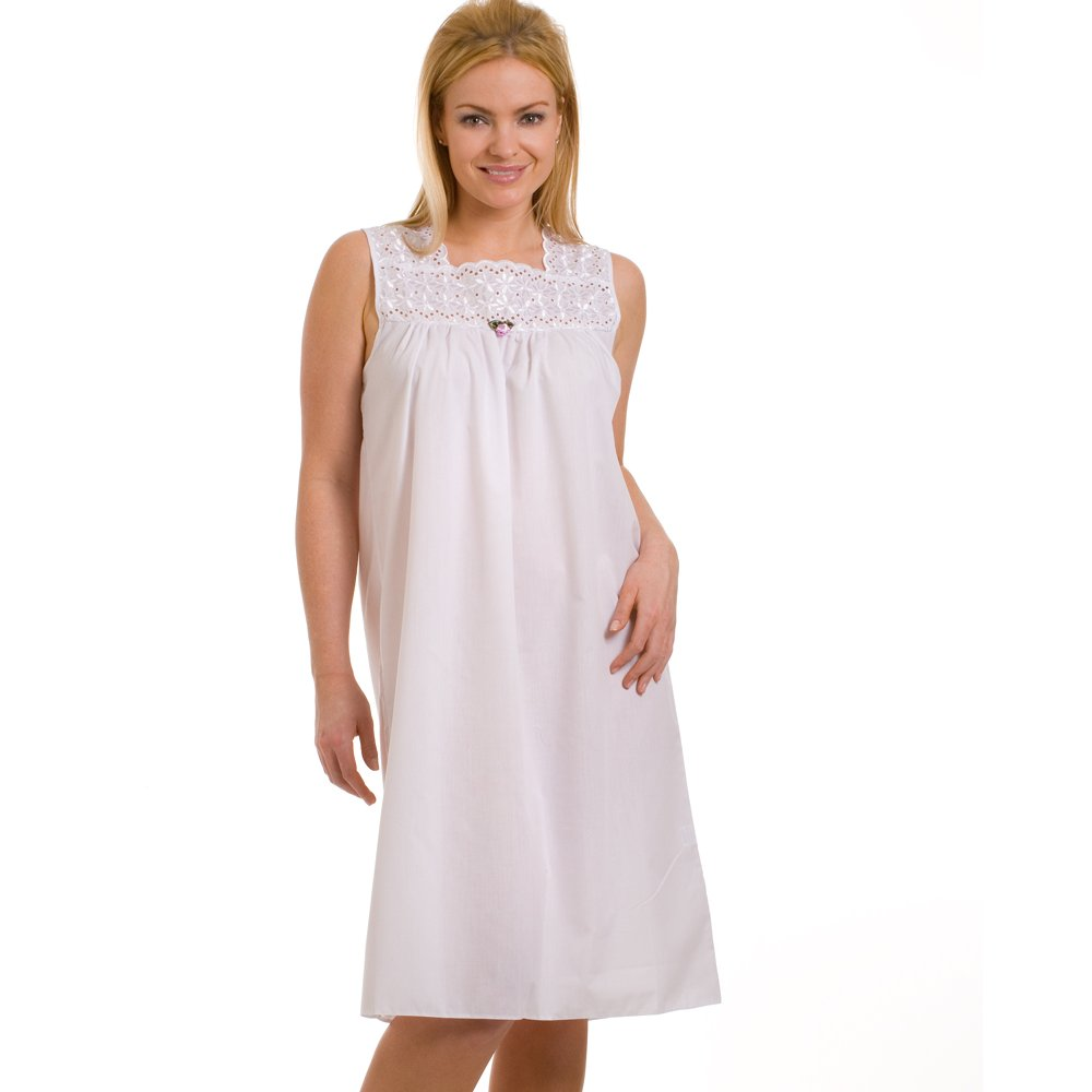 Ladies camille white deluxe sleeveless womens embroidered