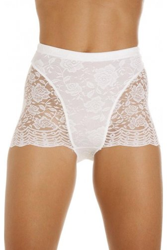 Womens White Floral Lace Control Shapewear Support Briefs