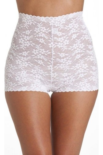 Womens White High Waist Floral Lace Short