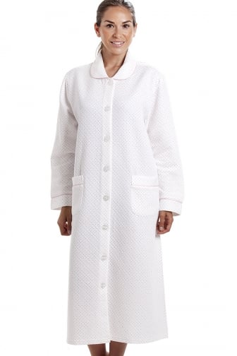 Womens White House Coat with a Pink Dot Print