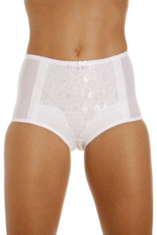 Camille Womens White Lace Control Shapewear Briefs In White