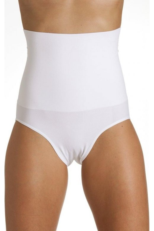 Camille Womens White Seamfree Shapewear Comfort Hi Waisted Control Brief