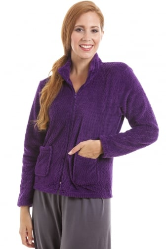 Womens Zip Front Purple Soft Fleece Bed Jacket