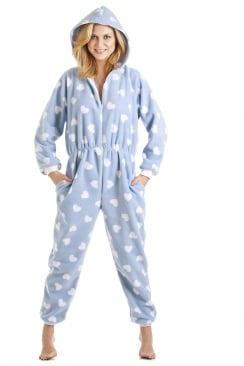 Childrens And Adults Blue With White Heart Print All In One Onesie Pyjama
