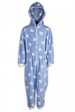Childrens Girls Blue With White Heart Print All In One Pyjama Onesie
