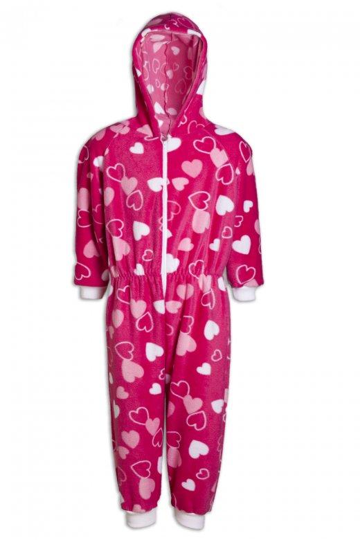 Childrens Heart Print Fleece Hooded All In One Pink Onesie Pyjama