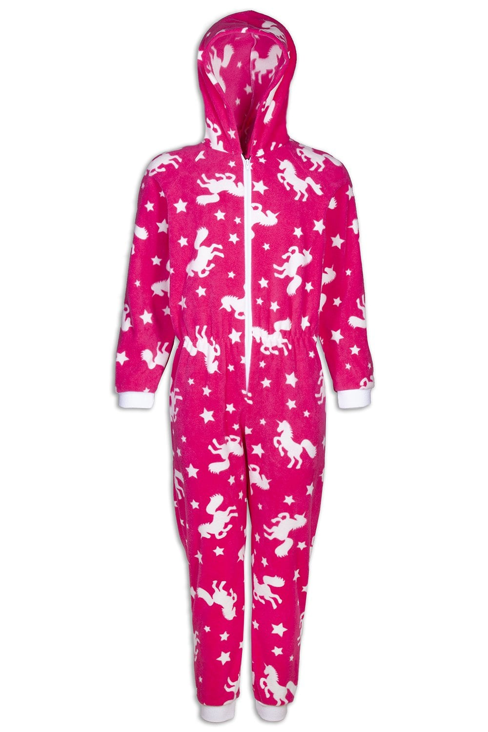 83e40770905a Camille Childrens Pink Unicorn Print Fleece All In One Pyjama Onesie