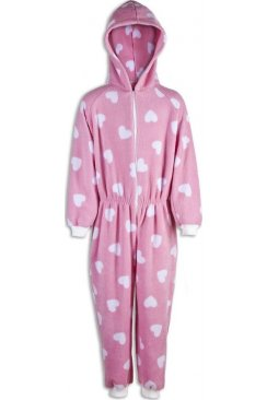 Childrens Pink With White Heart Print All In One Pyjama Onesie