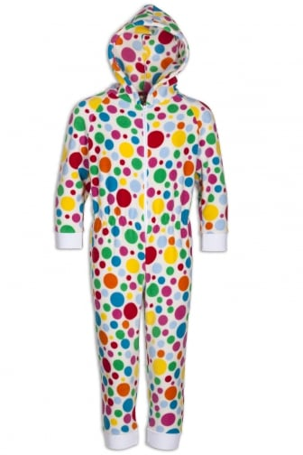 a7f0192fdb Childrens Supersoft White Disco Spot All In One Onesie