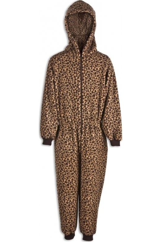 Childrens Unisex All In One Caramel Leopard Print Hooded Onesie