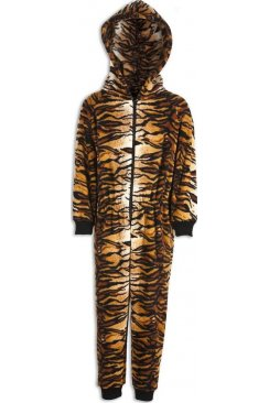 Childrens Unisex All In One Tiger Print Hooded Onesie