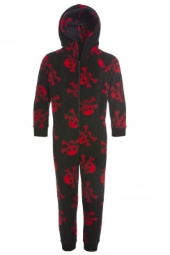Childrens Unisex Black And Red Skull Print All In One Pyjama Onesie