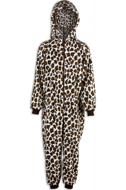 Childrens Unisex Snow Leopard Print All In One Pyjama Onesie