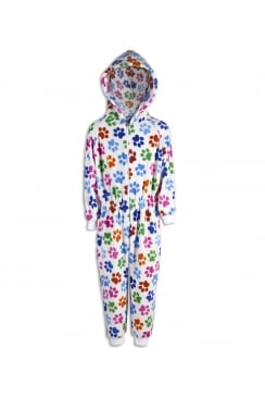 Childrens Unisex White Multi Colour Paw Print All In One Pyjama Onesie