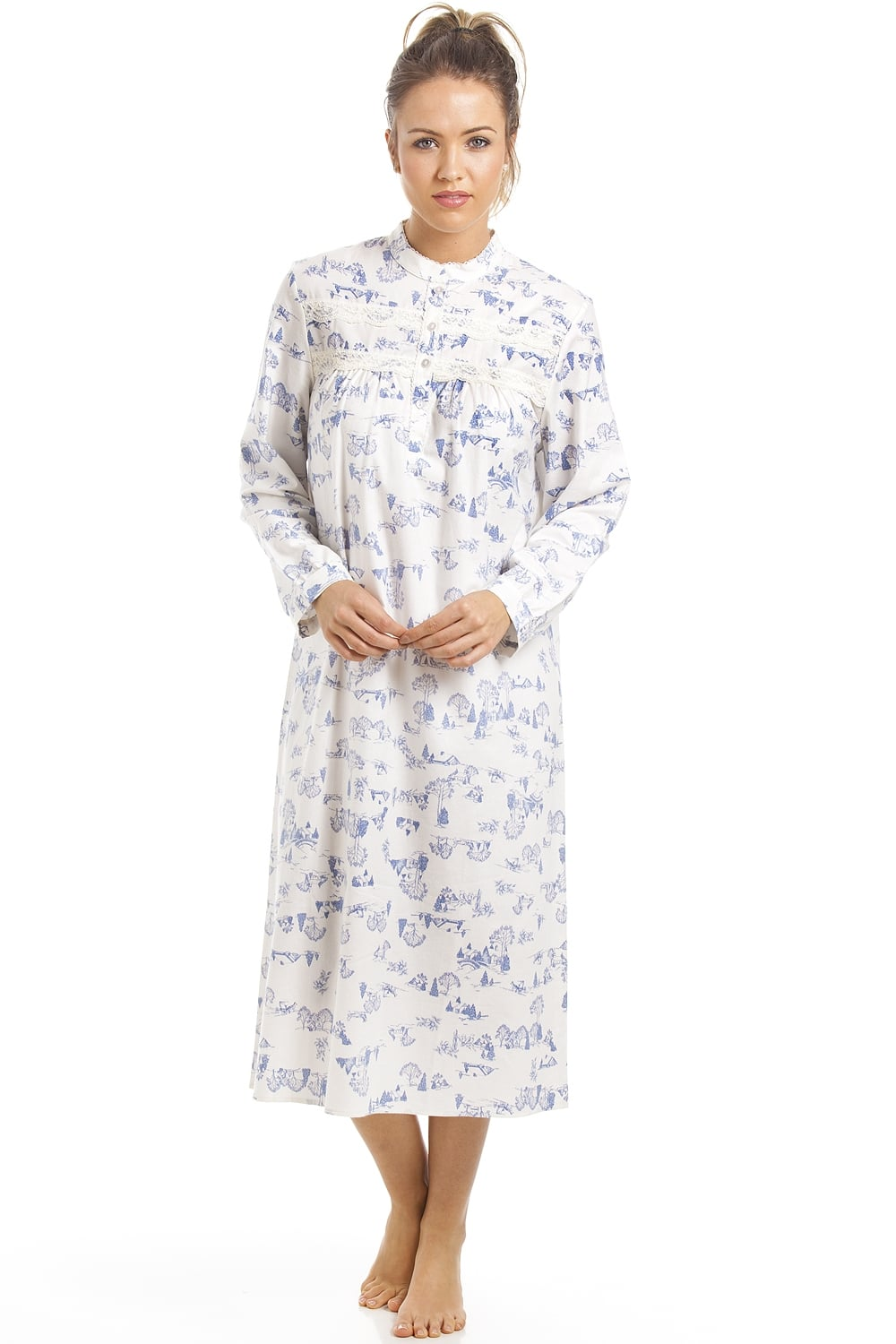 c8a5096cef0d Camille Classic Blue Country Cottage Print Brushed Polycotton Nightdress